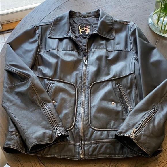 Men's large faux-leather guess jacket